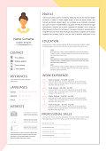 Feminine resume with infographic design. Stylish CV set for women. Clean vector.