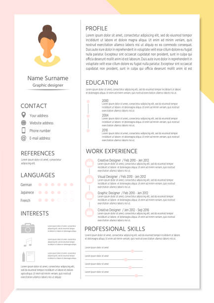 feminine resume with infographic design. stylish cv set for wome - business cv templates stock illustrations