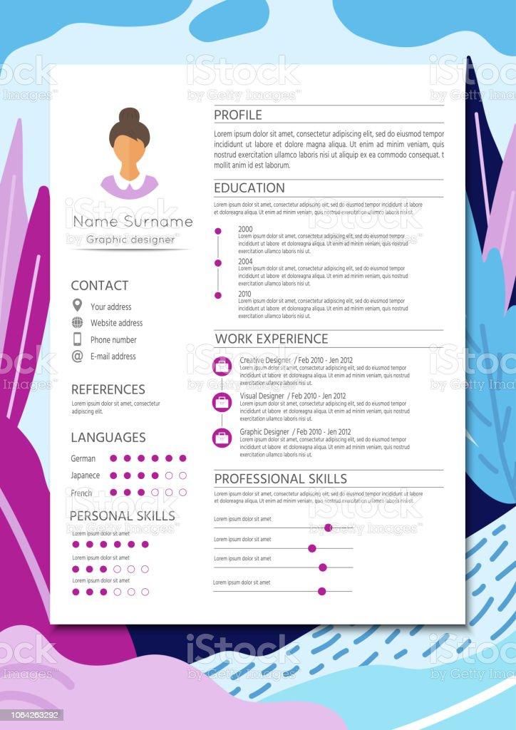 Weiblicher Lebenslauf Mit Infografik Design Stilvolle Cv Set Für