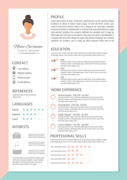 stockillustraties, clipart, cartoons en iconen met vrouwelijke cv met infographic ontwerp - cv icon