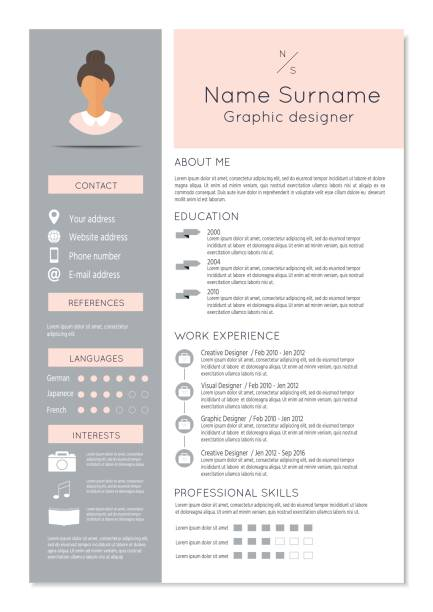 feminine resume with infographic design - resume templates stock illustrations