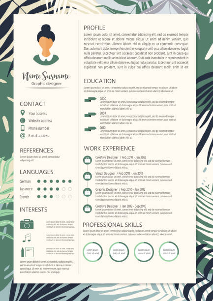feminine resume with infographic elements and tropic design. stylish cv set for women. clean vector profile. - resume templates stock illustrations