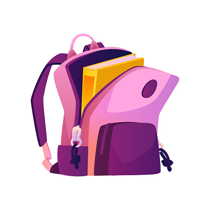 Feminine satchel with open pocket and textbook, isolated school bag with straps and handle. Design of knapsack for supplies for lessons. Flexible rucksack, backpack. Flat cartoon style vector