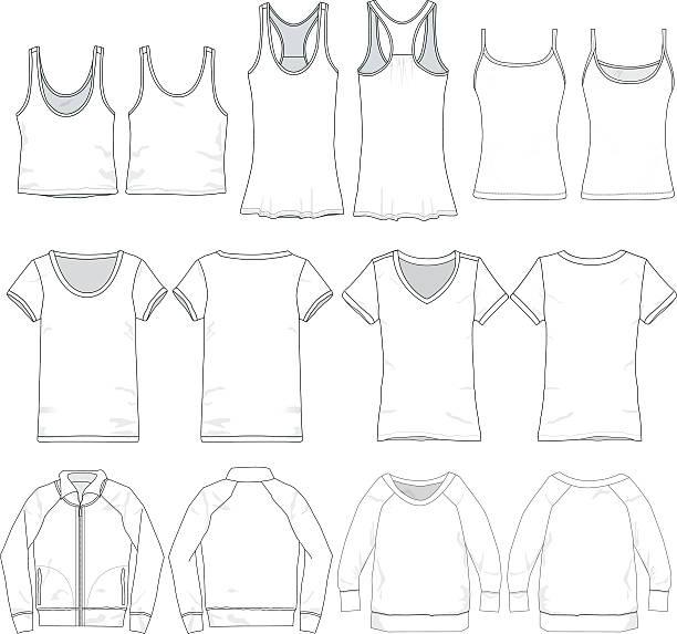 stockillustraties, clipart, cartoons en iconen met feminine vector tee templates - korte mouwen