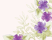 Feminine Watercolor Flowers Background with room for your text.