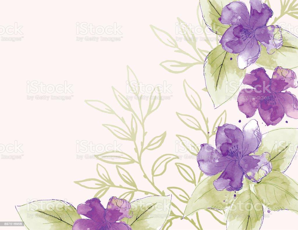Feminine Watercolor Flowers Background vector art illustration