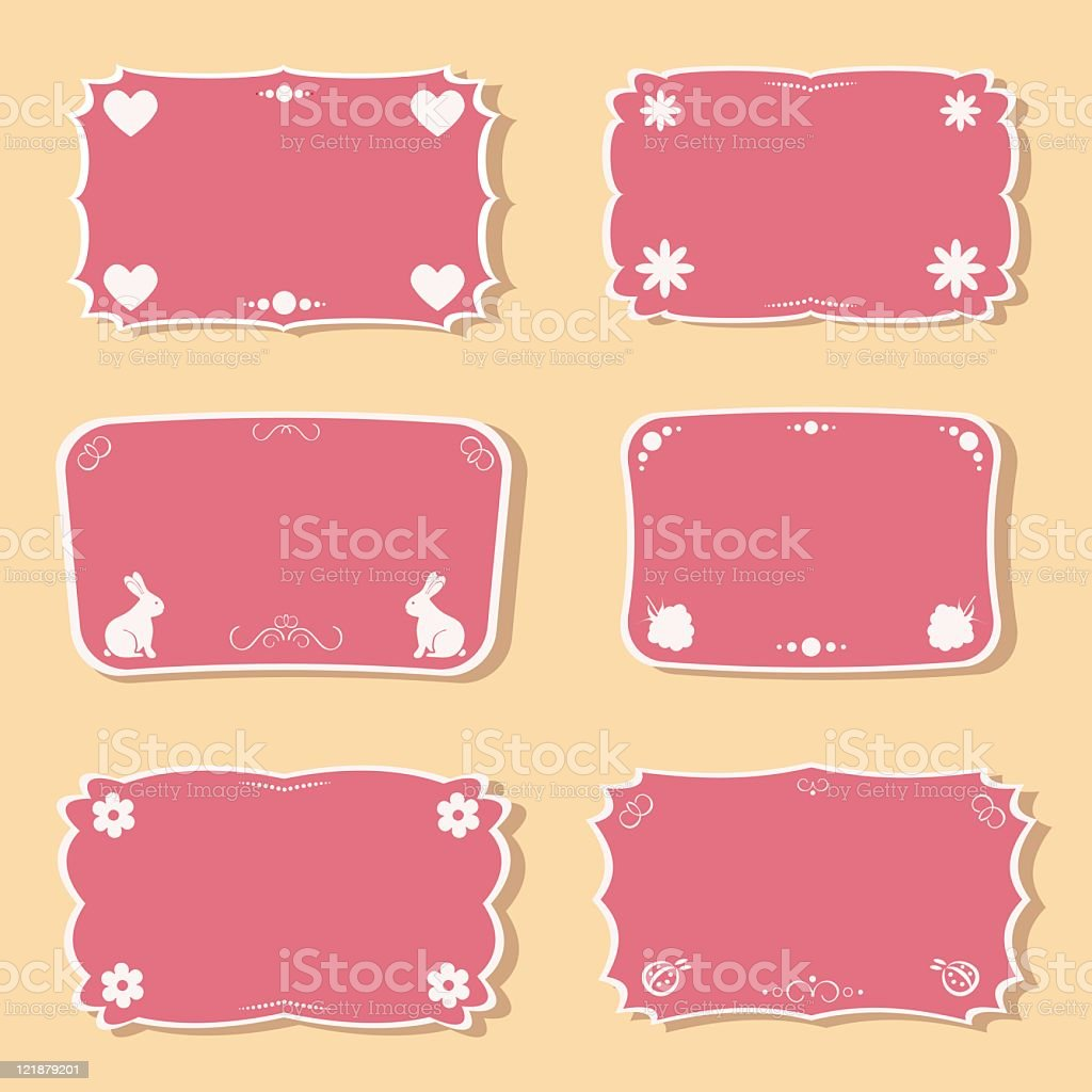 Femininity frames set with love and nature objects. royalty-free femininity frames set with love and nature objects stock vector art & more images of backgrounds