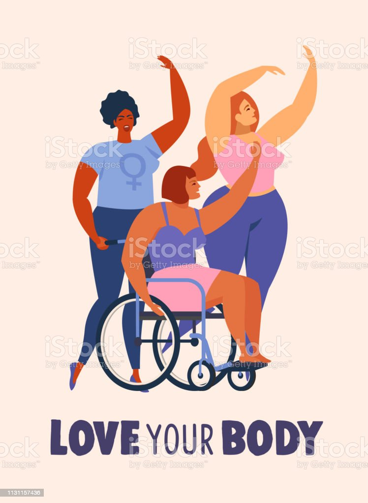 Feminism body positive cards, posters, banners, cover with love to own figure, female freedom girl power isolated vector illustration. vector art illustration
