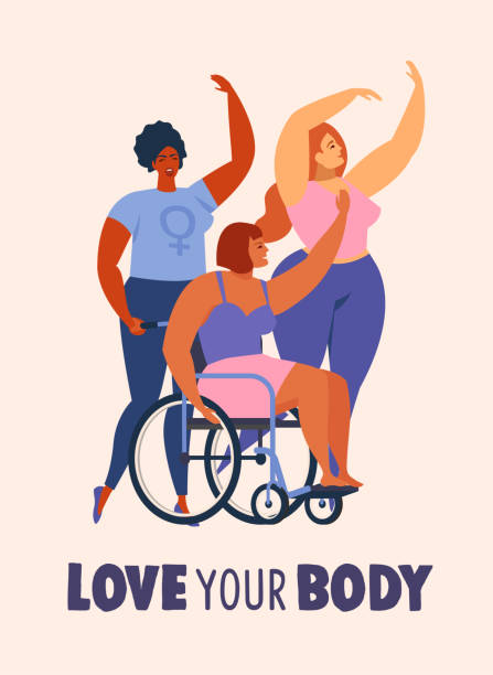 feminism body positive cards, posters, banners, cover with love to own figure, female freedom girl power isolated vector illustration. - wheelchair sports stock illustrations, clip art, cartoons, & icons