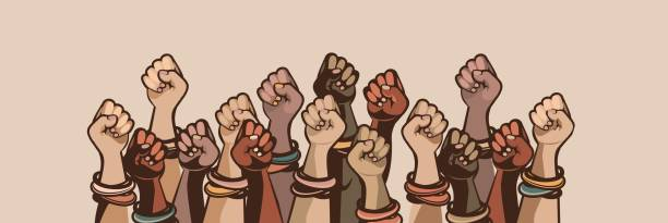 feminism concept of female power Feminism concept female power. female power, great design for any purposes. Women power. Female fist. suffragist stock illustrations