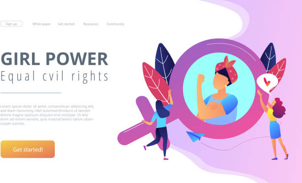 Feminism concept vector illustration. A woman image in female gender sign showing biceps as a concept of feminism, girl power, movement, female equality, equal social and civil rights. Violet palette. Website landing web page template. civil rights stock illustrations