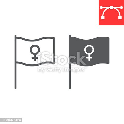 istock Feminism flag line and glyph icon, sexism and feminism, women rights flag sign vector graphics, editable stroke linear icon, eps 10. 1285076120