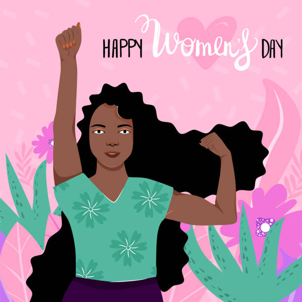 feminism, girl power, international women's day concept with flowers and leaves. strong afro-american girl showing her power. - black power stock illustrations