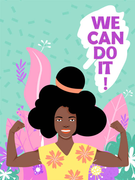 feminism, girl power, international women's day concept with flowers and leaves. strong afro-american girl showing her muscularity. - black power stock illustrations