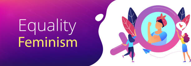 Feminism header or footer banner. A woman image in female gender sign showing biceps as a concept of feminism, girl power, movement, female equality, equal social and civil rights. Violet palette. Header or footer banner. civil rights stock illustrations
