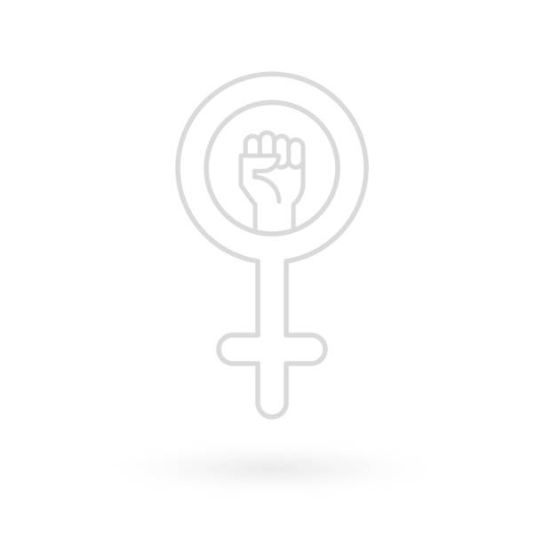 Feminism icon. Female gender symbol with raised fist. Flat and minimal design. Vector illustration Feminism icon. Female gender symbol with raised fist. Flat and minimal design. Vector illustration battle of the sexes concept stock illustrations