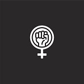 feminism icon. Filled feminism icon for website design and mobile, app development. feminism icon from filled feminism collection isolated on black background.
