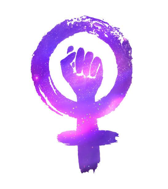 우주 공간으로 페미니즘 항의 상징 - 여성의 권리 stock illustrations