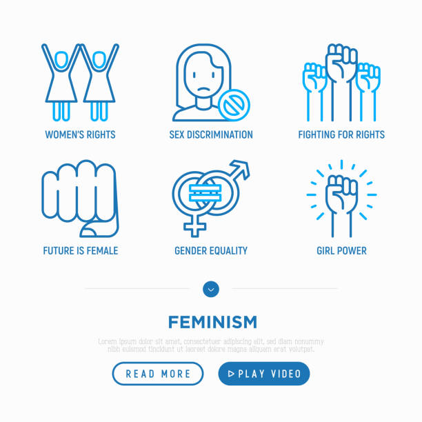Feminism thin line icons set: women's rights, girl power, gender equality, sex discrimination, protest, fighting for rights. Modern vector illustration. Feminism thin line icons set: women's rights, girl power, gender equality, sex discrimination, protest, fighting for rights. Modern vector illustration. equality stock illustrations