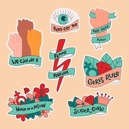 Feminist and women empowerment,diversity stickers set.