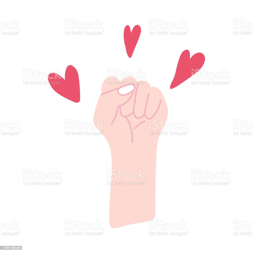 Feminist fist surrounded by hearts vector vector art illustration