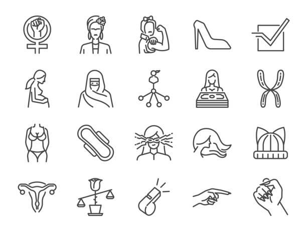 페미니스트 아이콘 세트입니다. 아이콘으로 사용자 여성, 여성 파워, 임산부, 페미니즘 기호, 여자 월급, 법률, 몸, 권리 등을 포함 - 여성 문제 stock illustrations