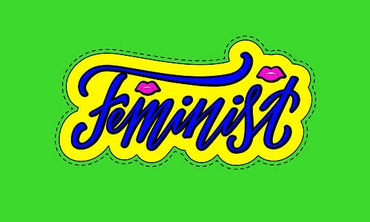 Feminist isolated lettering on a neon colored sticker