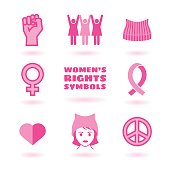 feminist symbols set promoting women's rights