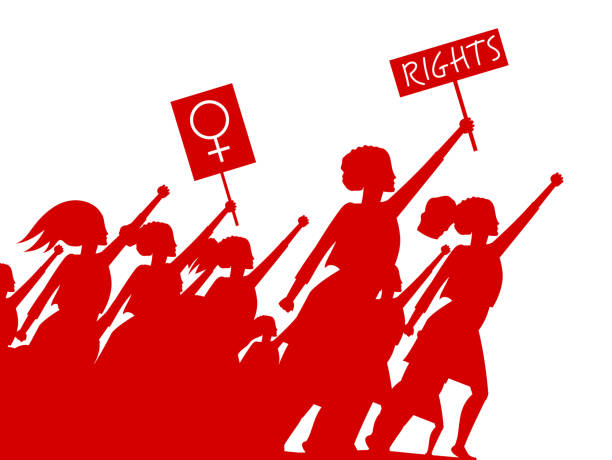 Feminist woman activist leading a crowd of people struggles for rights vector illustration isolated, social justice warriors, girl power. Feminist woman activist leading a crowd of people struggles for rights vector illustration isolated, social justice warriors, girl power. suffragist stock illustrations