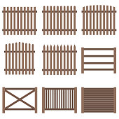 Fence, a set of wooden fence brown. Flat design, vector.