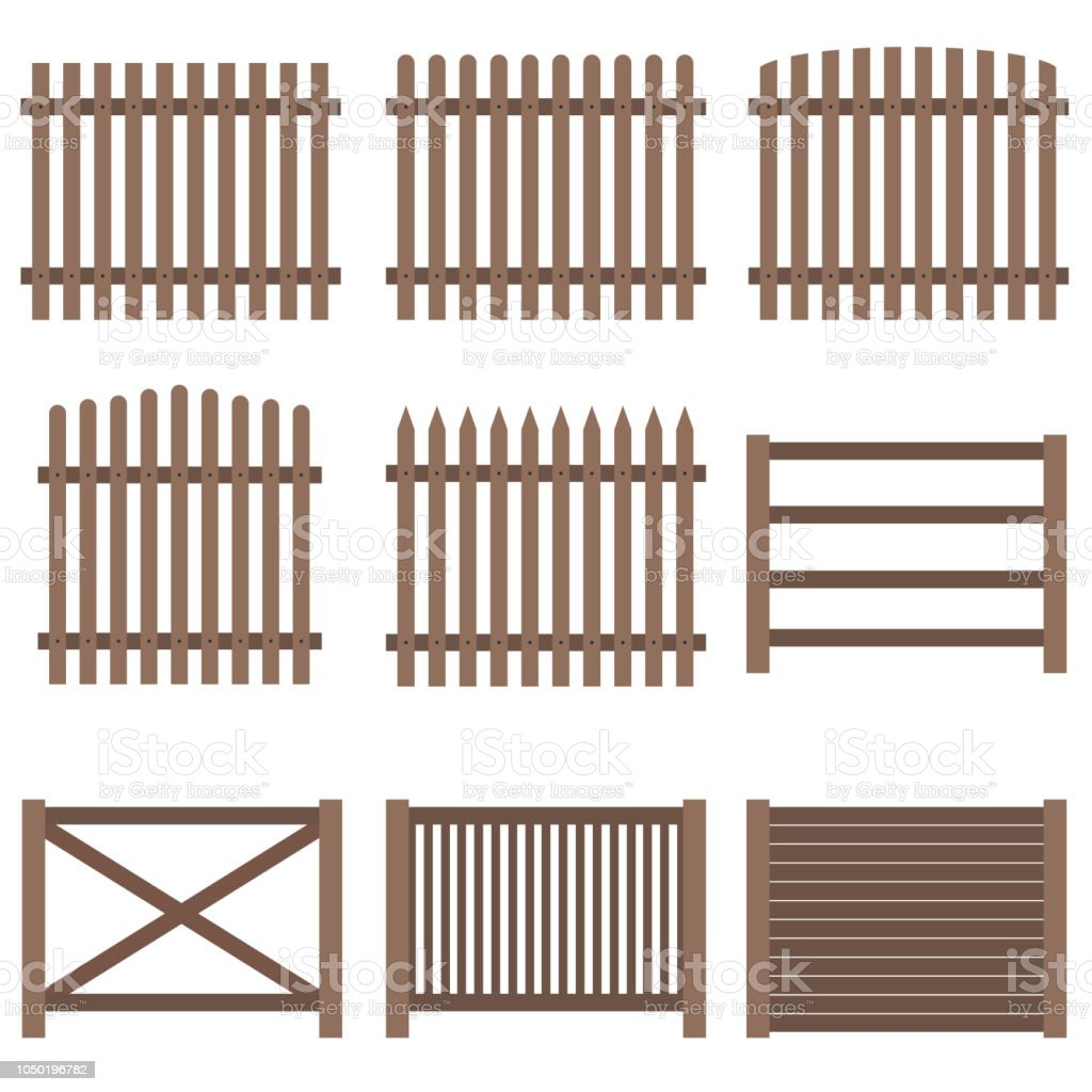 Fence, a set of wooden fence brown. Flat design, vector. vector art illustration