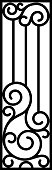 Art Nouveau wrought iron fence in black and white.