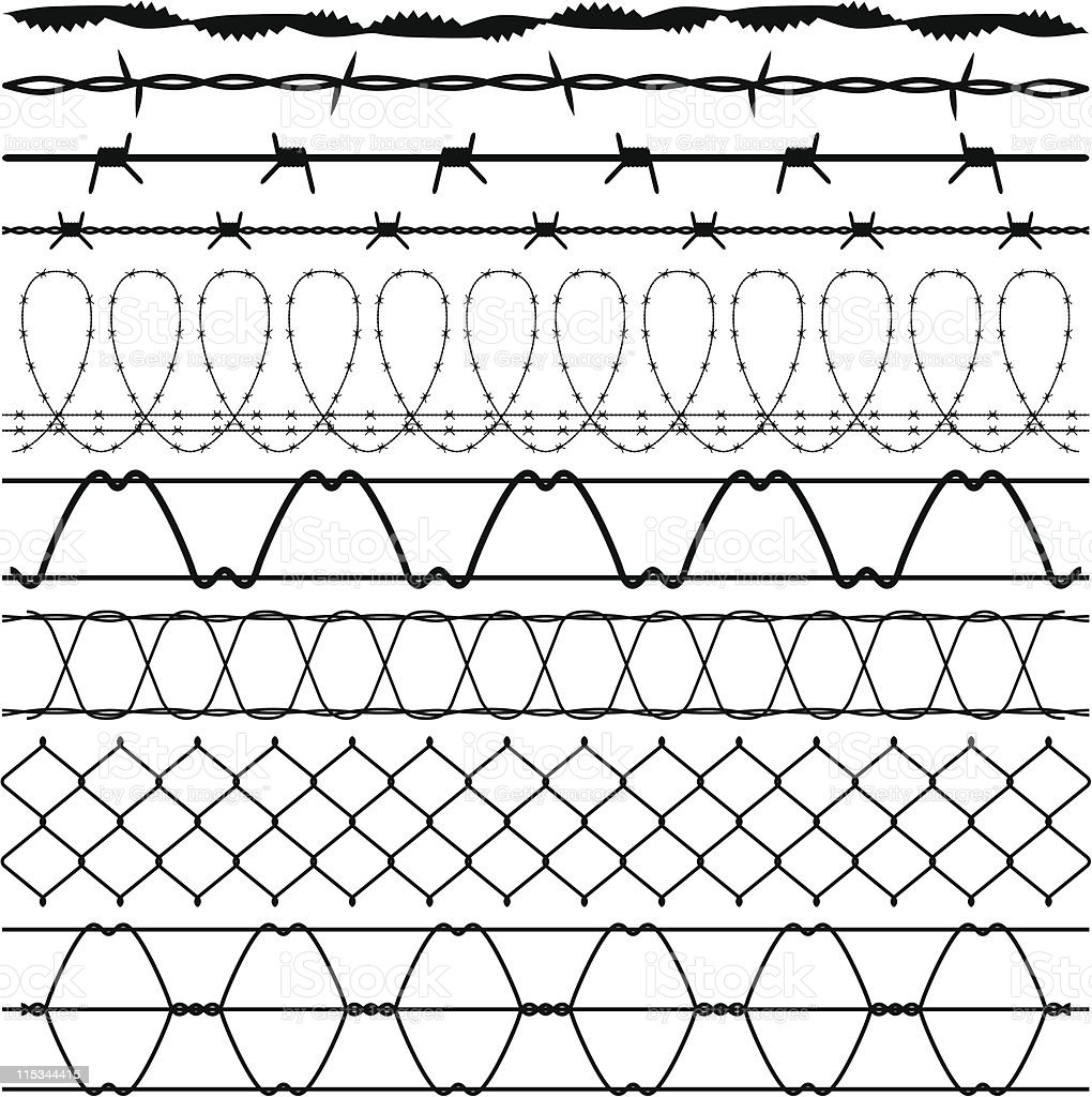 Fence Barbed Wire barbwire vector art illustration