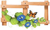 Fence design with plant and butterfly