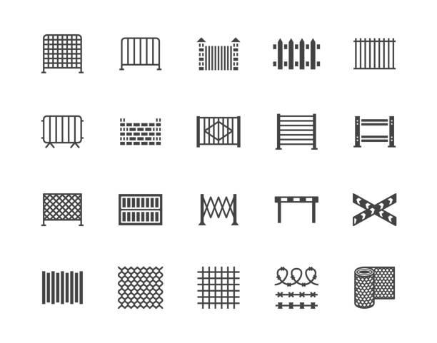 stockillustraties, clipart, cartoons en iconen met hek platte glyph icons set. houten hekwerk, metaal geprofileerde plaat, gaas, crowd control barricades vector illustraties. zwarte borden voor bescherming winkel. silhouet pictogram pixel perfect 64x64 - fence