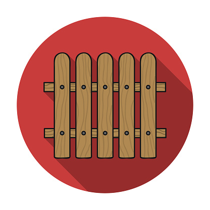 Fence icon in flat style isolated on white background. Sawmill and timber symbol stock vector illustration.
