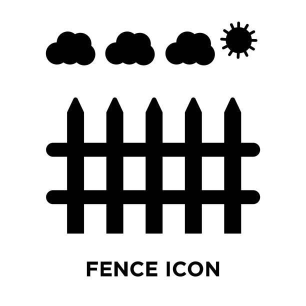 stockillustraties, clipart, cartoons en iconen met hek pictogram vector geïsoleerd op een witte achtergrond, logo concept van hek ondertekenen op transparante achtergrond, zwarte gevuld symbool - fence