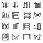 Fence icons set. Editable stroke