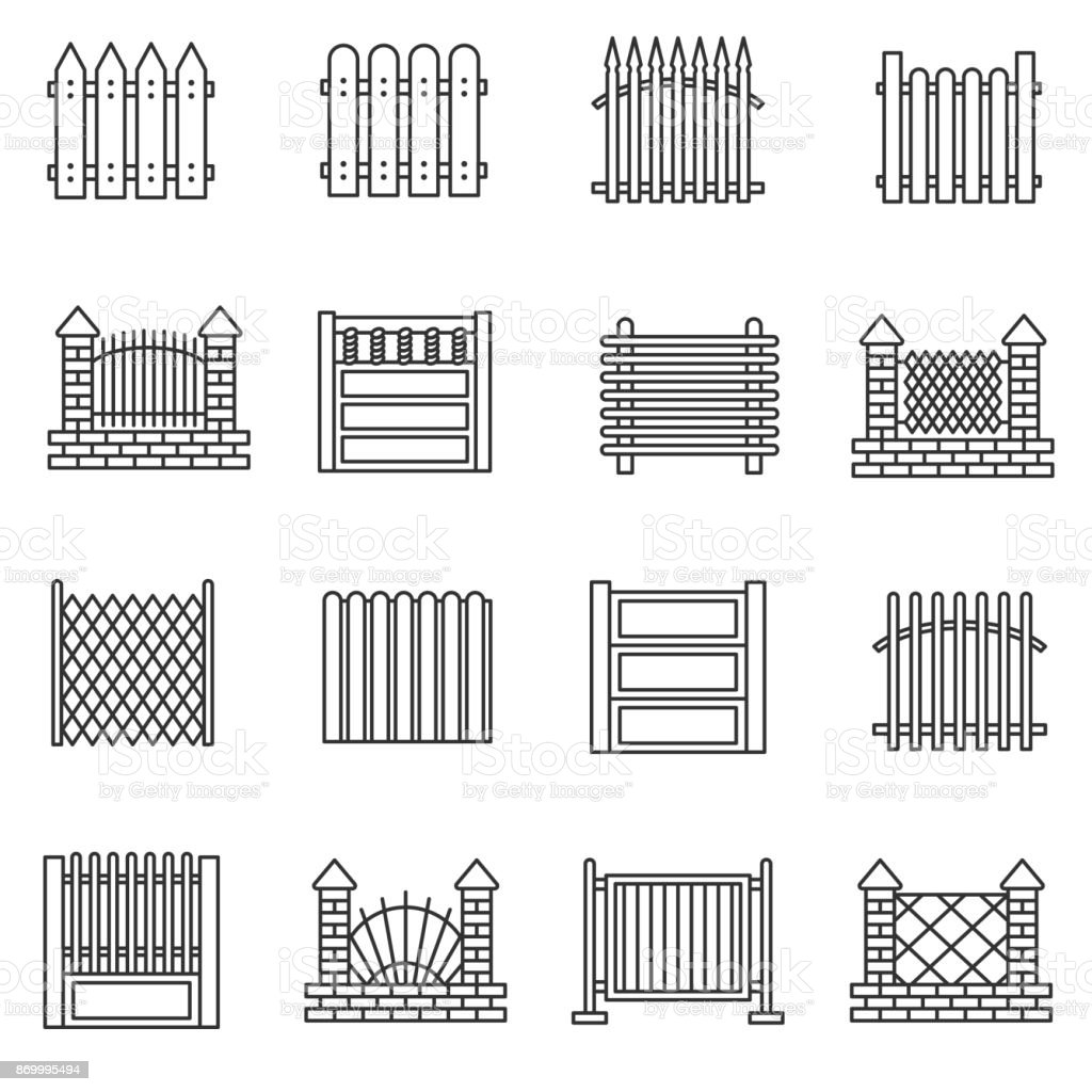 Fence icons set. Editable stroke vector art illustration