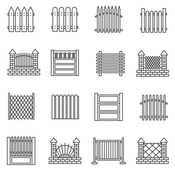 stockillustraties, clipart, cartoons en iconen met hek pictogrammen instellen. bewerkbare beroerte - fence