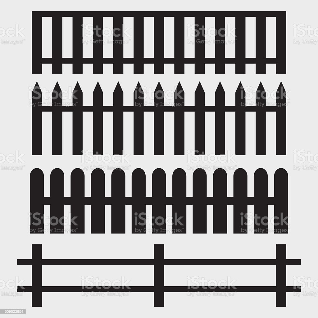 Fence Icons vector art illustration