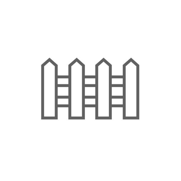 stockillustraties, clipart, cartoons en iconen met hek lijn pictogram - fence