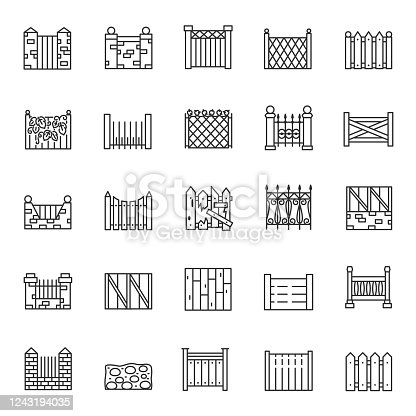 Fence, icon set. Fencing made of various materials, brick, mesh, wood, iron, linear icons. Line with editable stroke