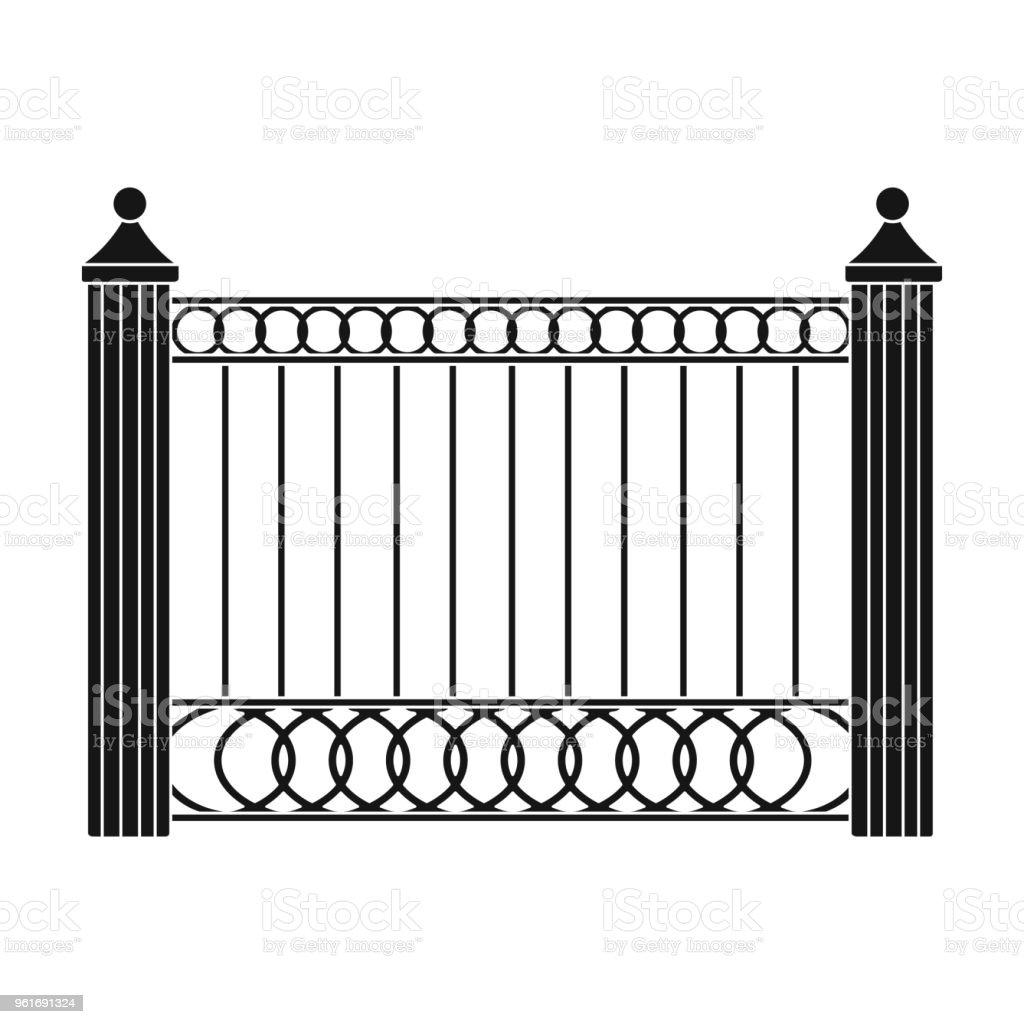 Ein Zaun Aus Metall Ein Andere Zaun Einzelnes Symbol Im Schwarzen