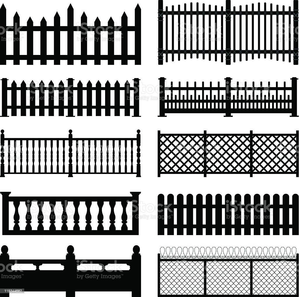 Fence Picket Wooden Wired Brick Garden Park Yard vector art illustration