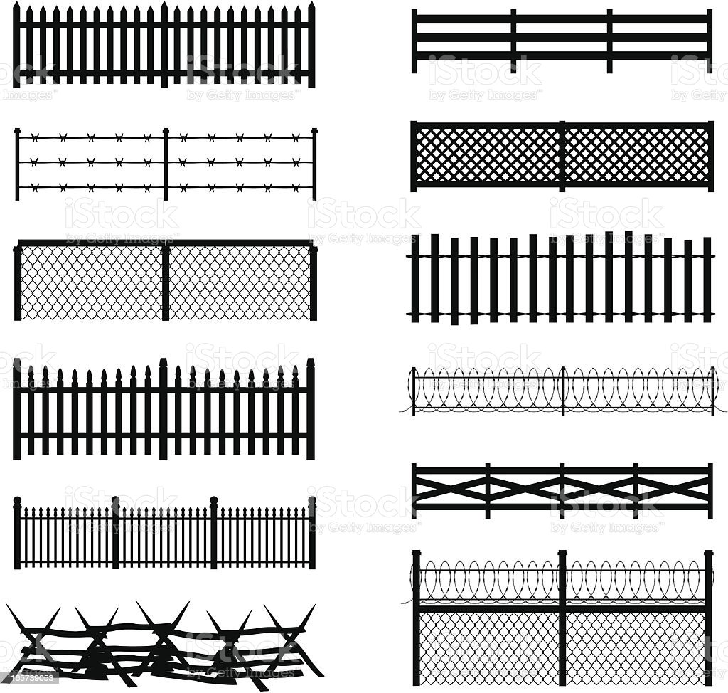 Fence Silhouettes vector art illustration