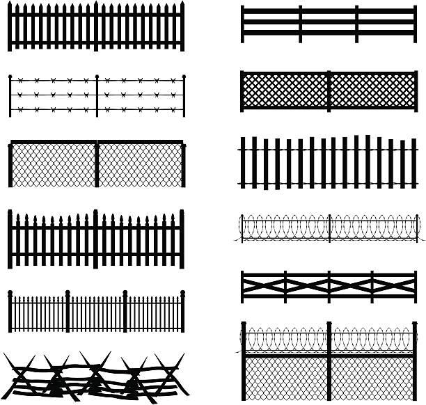 stockillustraties, clipart, cartoons en iconen met fence silhouettes - hek