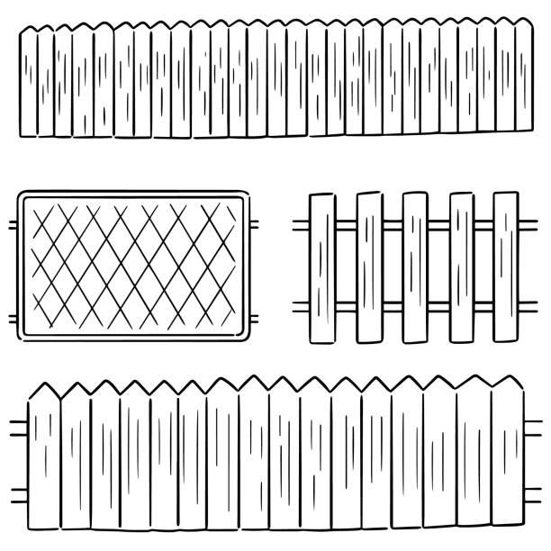 stockillustraties, clipart, cartoons en iconen met hek - fence