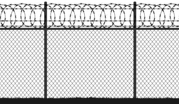 illustrations, cliparts, dessins animés et icônes de grillage en fil de clôture barbelé, silhouette vectorielle continue - prison