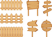 Fences of garden and signs with wood texture. Vector illustration set isolate on white